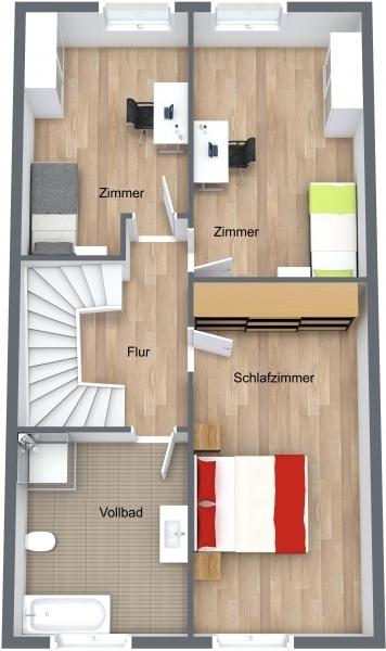 Obergeschoss Reihenmittelhaus
