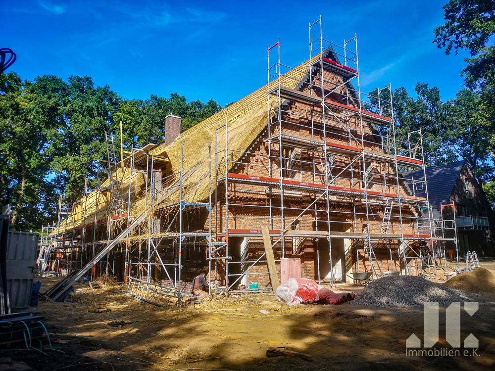 Baufortschritt Haupthaus, Reet decken