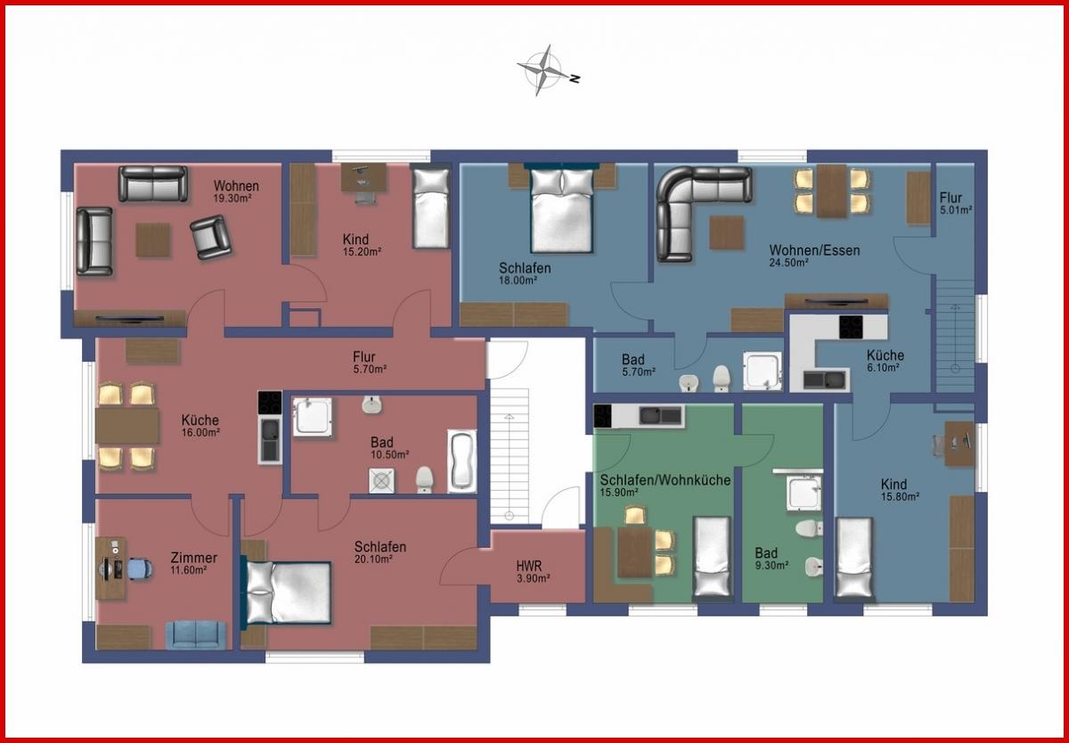 Grundriss Obergeschoss 3 Wohneinheiten