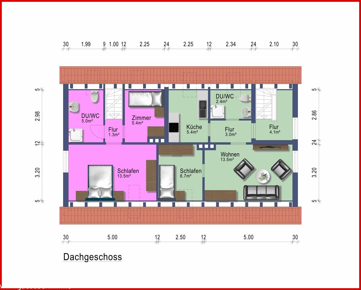 Grundriss Dachgeschoss Wohnung 1 und 3