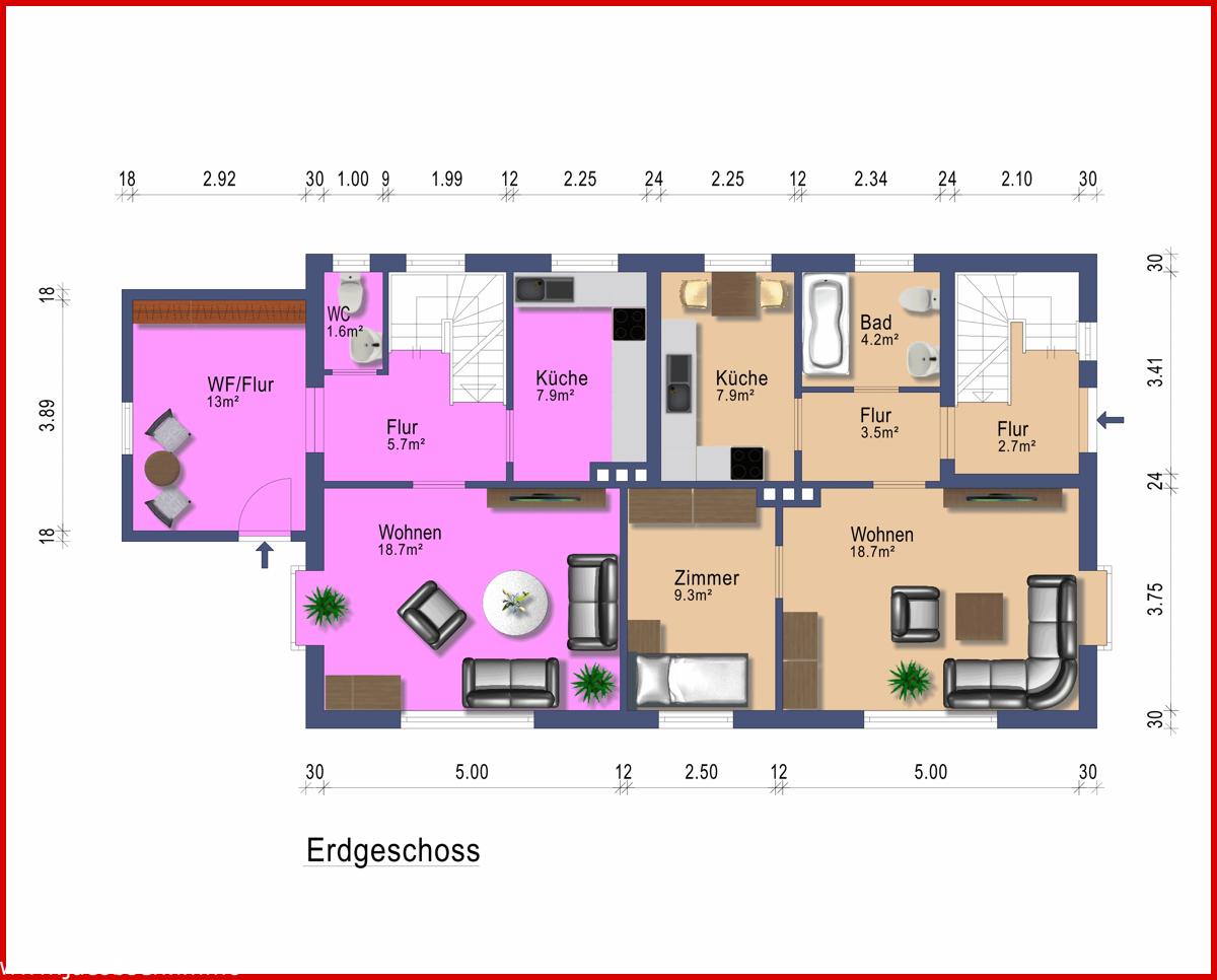Grundriss Erdgeschoss Wohnung 1 und 2