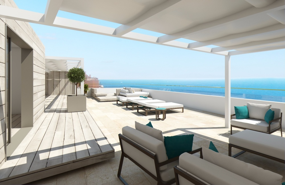 This fantastic penthouse project is located in front sea line in the popular town Illetas