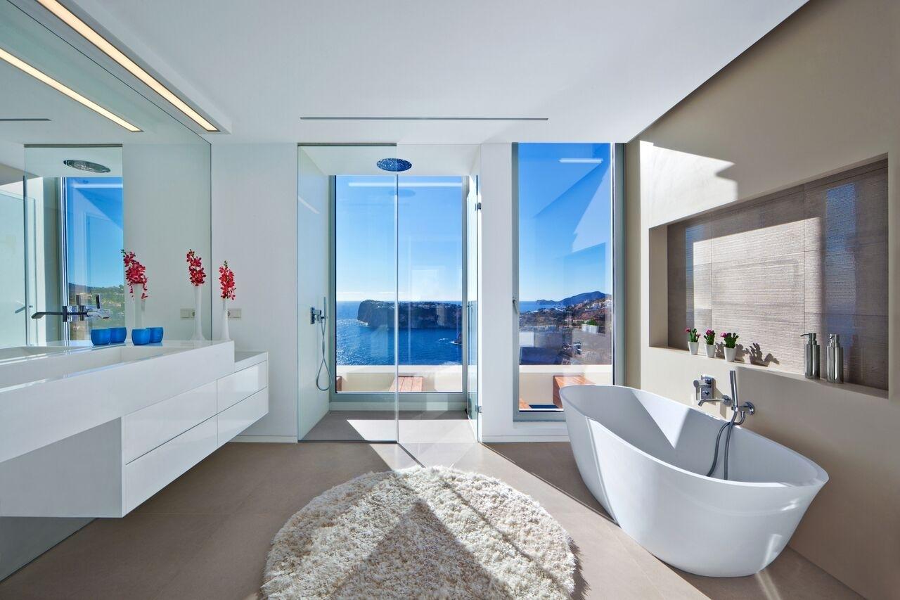 Master Badezimmer mit Meerblick Dusche Luxus Villa Port Andratx