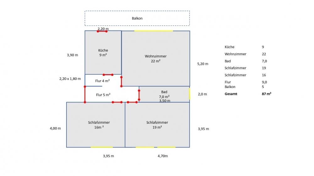 Gezeichneter Grundriss der Wohnung( nicht maßstabsgetreu)