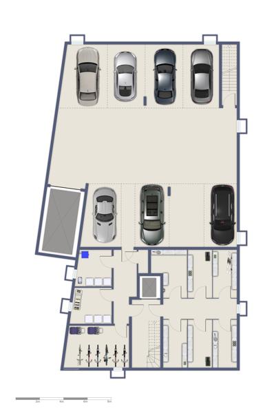 Kellergeschoss und Tiefgarage