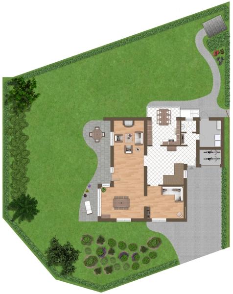 Erdgeschoss mit Außenflächen