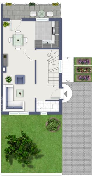 Vorgarten und Einfahrt