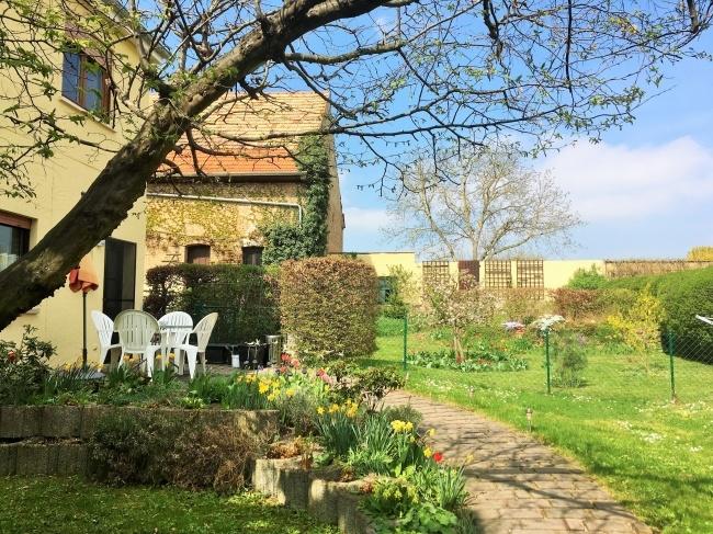Garten mit Teich und Nebengebäude