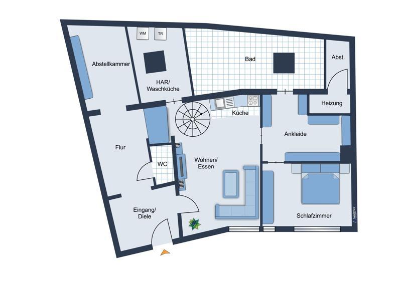 Grundriss-Skizze Erdgeschoss