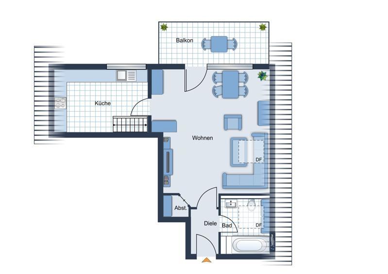 Grundriss-Skizze Obergeschoss
