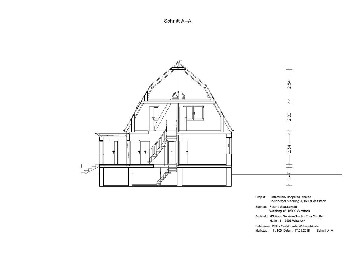 Schnitt Wohngebäude Gratzkowski