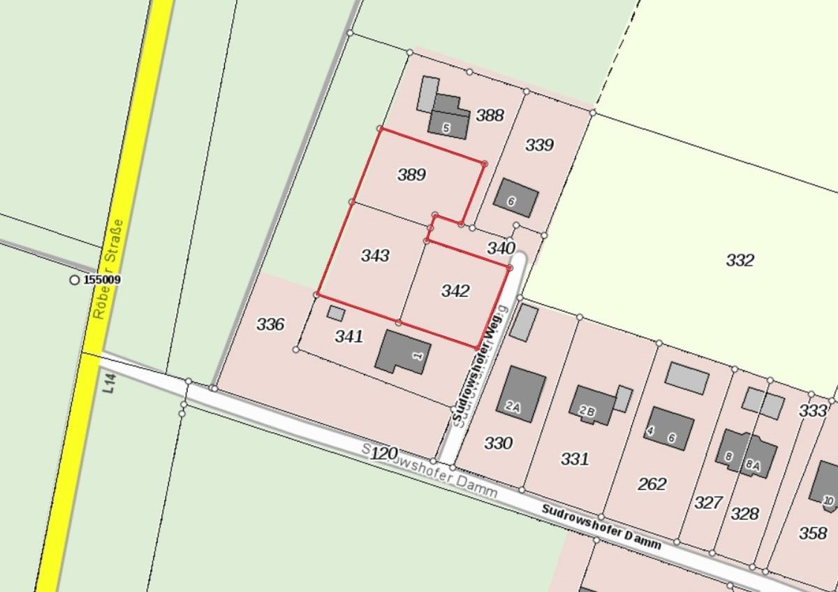 Lageplan - Grundstück 342, 343, 389 - Sudrowshofer Weg