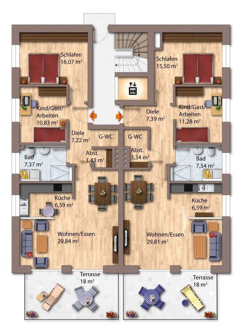 Erdgeschoss Haus 1