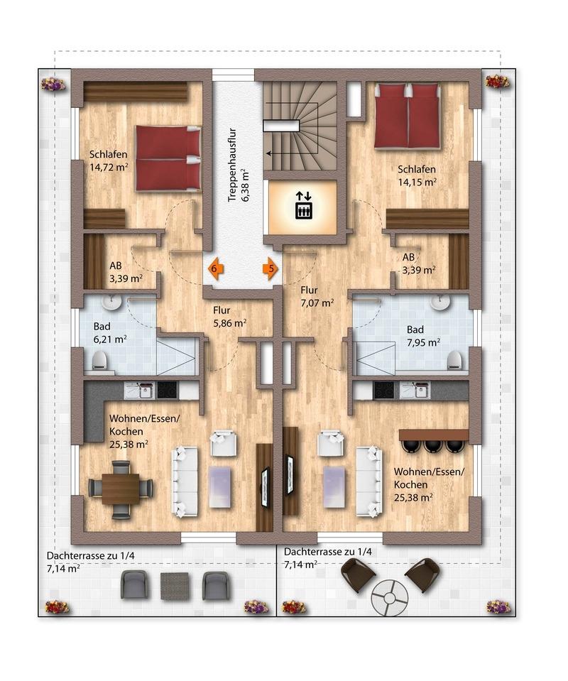 2. Obergeschoss Haus 1