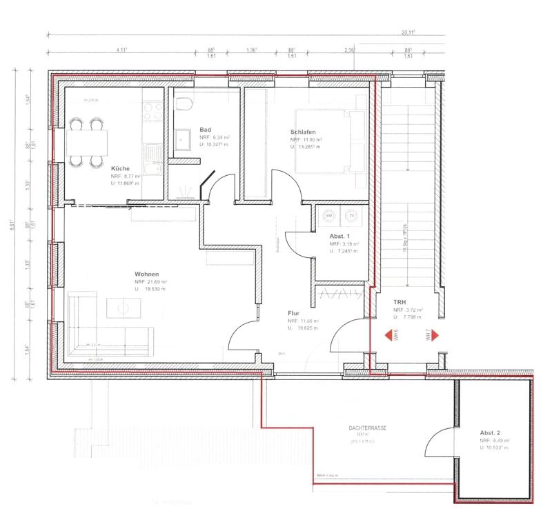 Grundriss 1. Obergeschoss Wohnung