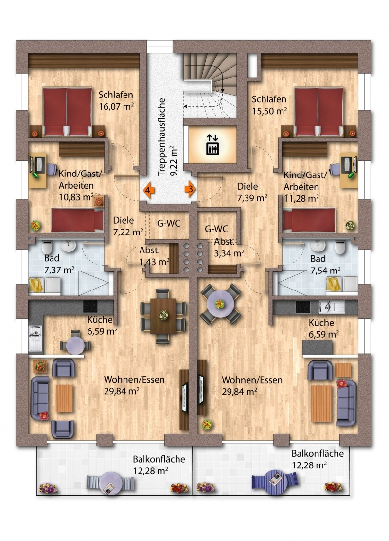 1. Obergeschoss Haus 1