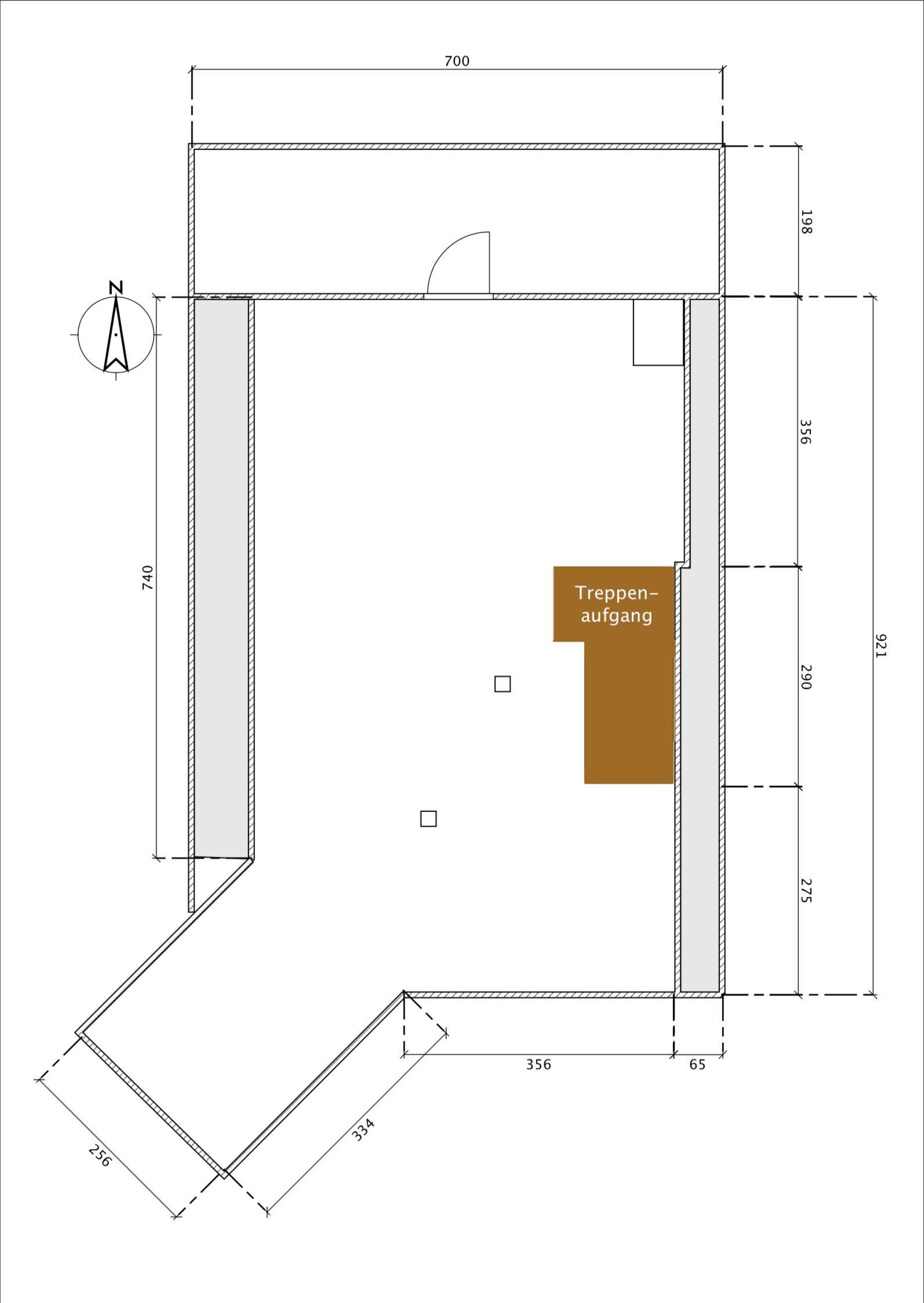 Grundriss Dachbodenzimmer Bahnhofstr. 1a