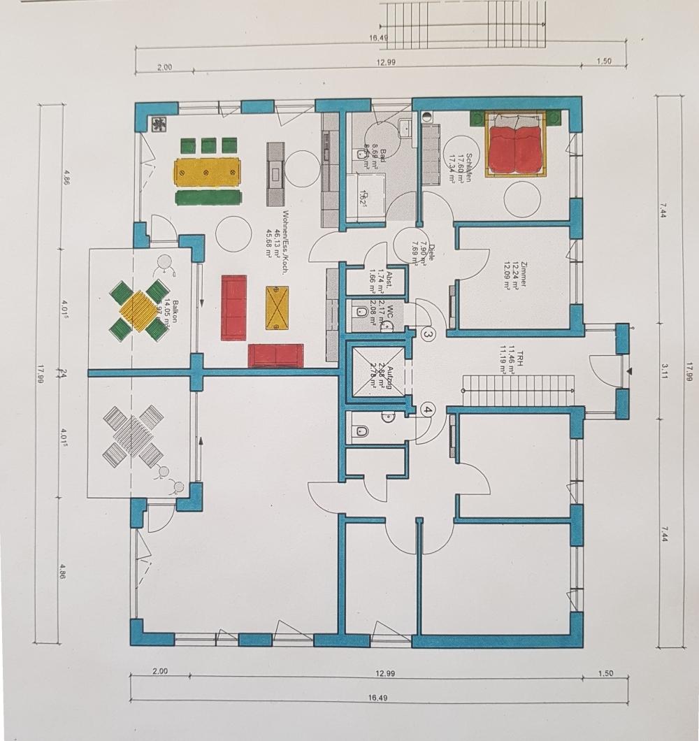 Grudriss OG 3 Zimmerwohnung von VERKAUFT | Maywand Immobilien GmbH