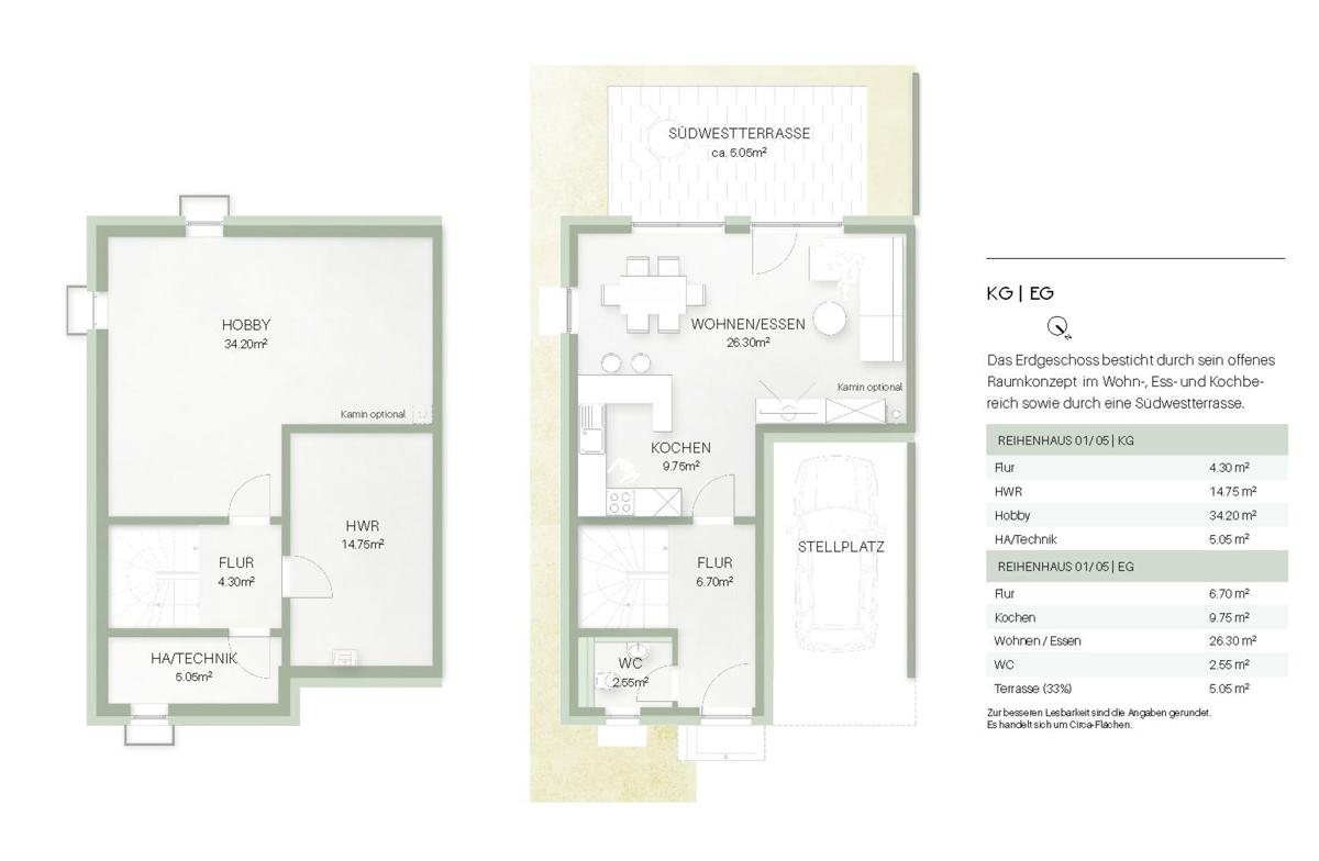 Haus 1 - Grundriss KG / EG