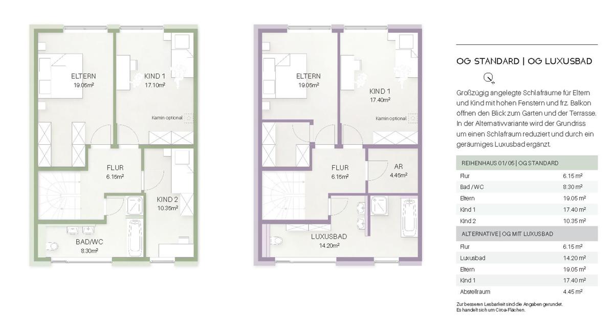 Haus 1 - Grundriss OG Standard / Luxusbad