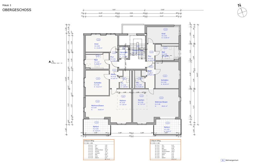 Grüngut - Grundriss Haus 1 1. Obergeschoss