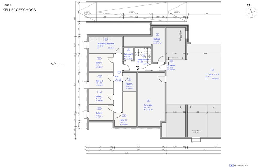 Grüngut - Grundriss Haus 1 Kellergeschoss