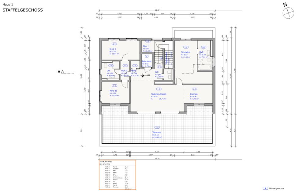 Grüngut - Grundriss Haus 1 Penthouse