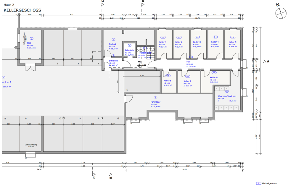 Grüngut - Grundriss Haus 2 Kellergeschoss