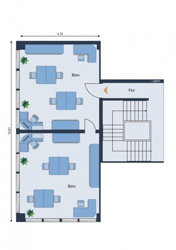 Grundriss der Büroflächen 2. Etage