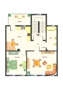 Vorderhaus Variante 1 Einrichtungsvorschlag 2 Zimmer