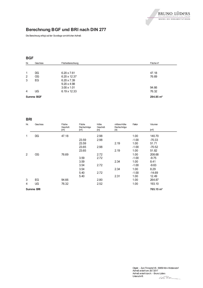 Berechnung BGF+BRI