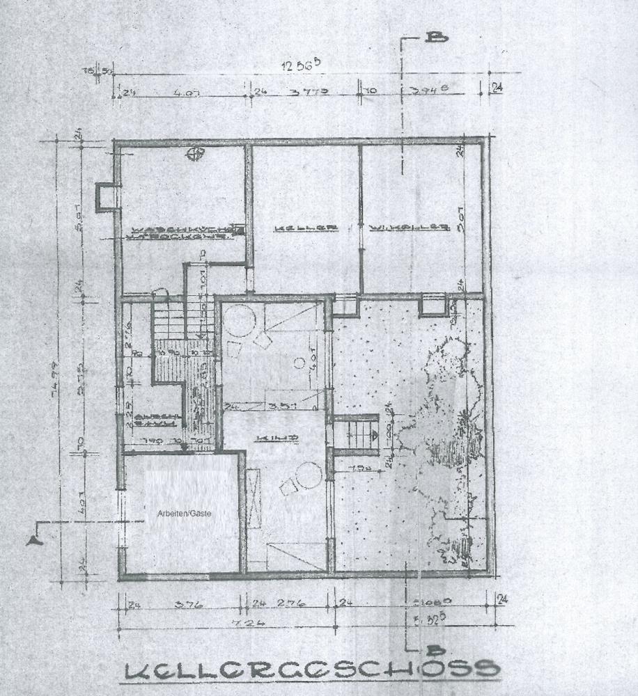 Grundriss Kellergeschoss  und  unteres Split-Level