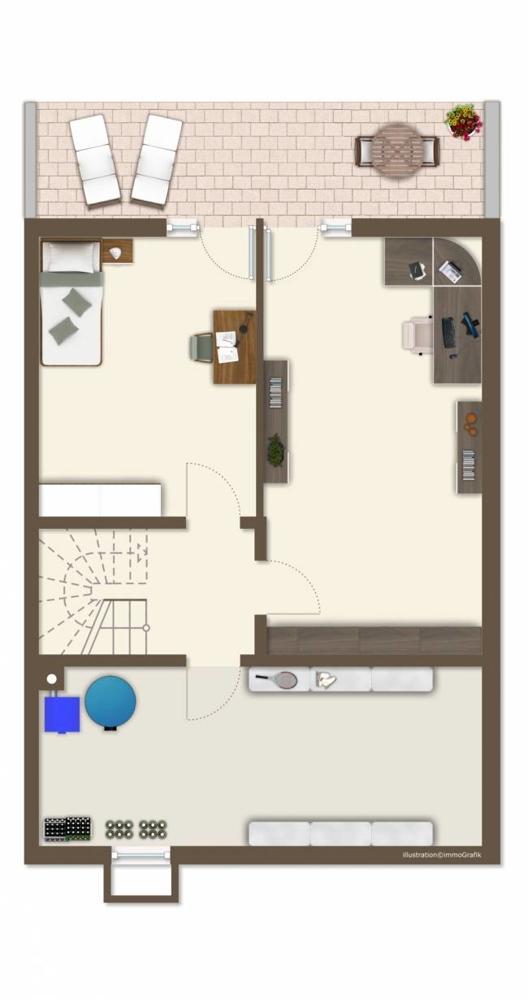 """Grundriss Untergeschoss """"Variante 2 Zimmer"""" """"möbliert"""""""