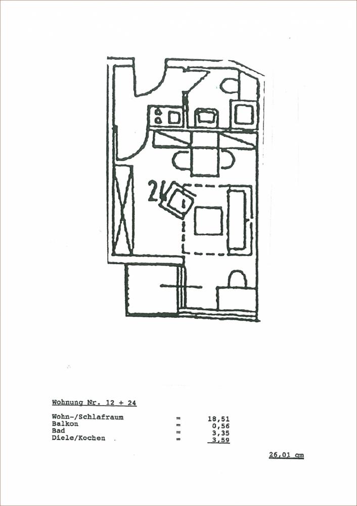 Grundriss mit Flächenberechnung