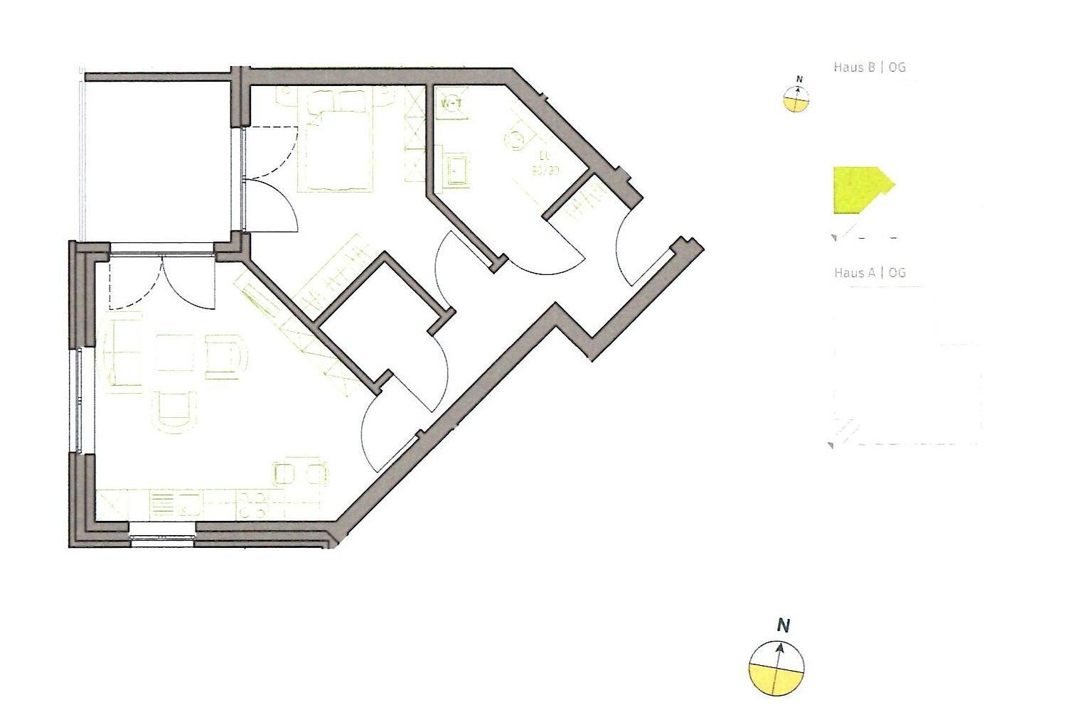 Grundriss Wohnung B 1.08