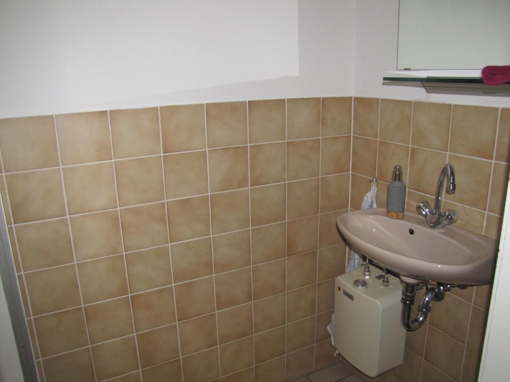 Toilette mit Waschbecken