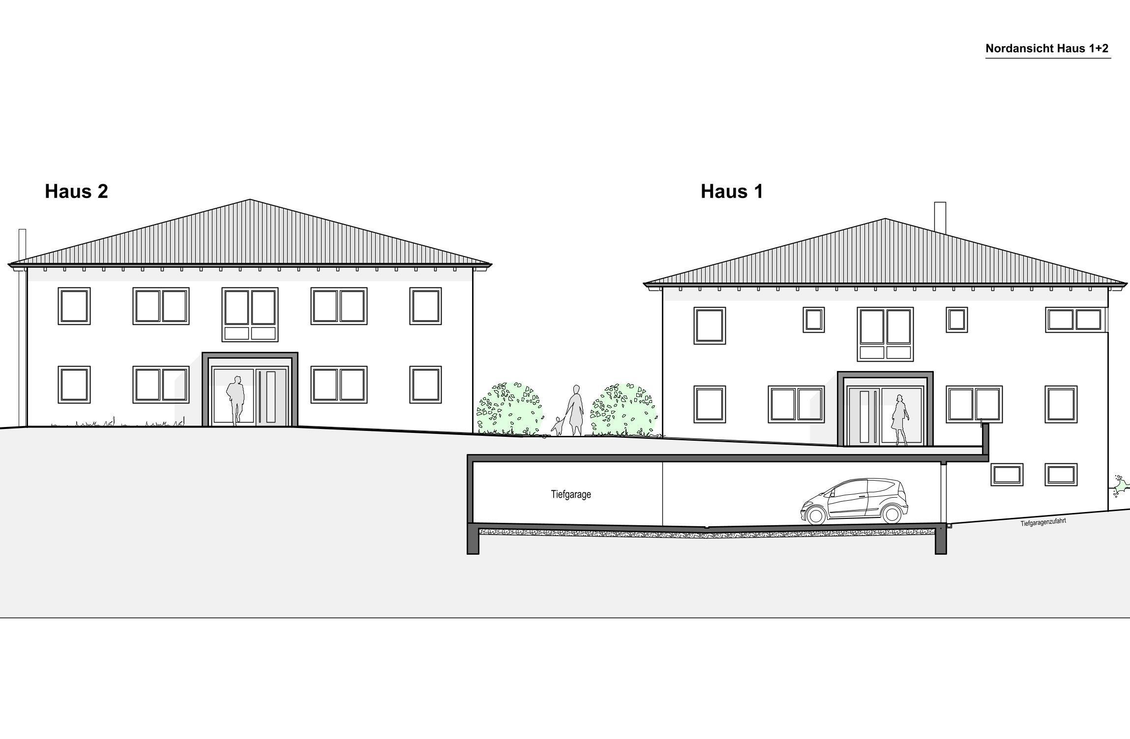 Nordansicht Haus 1+2
