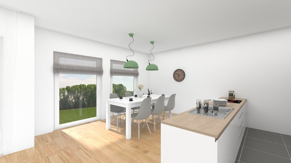 Essbereich mit Küche (Wohnbeispiel)
