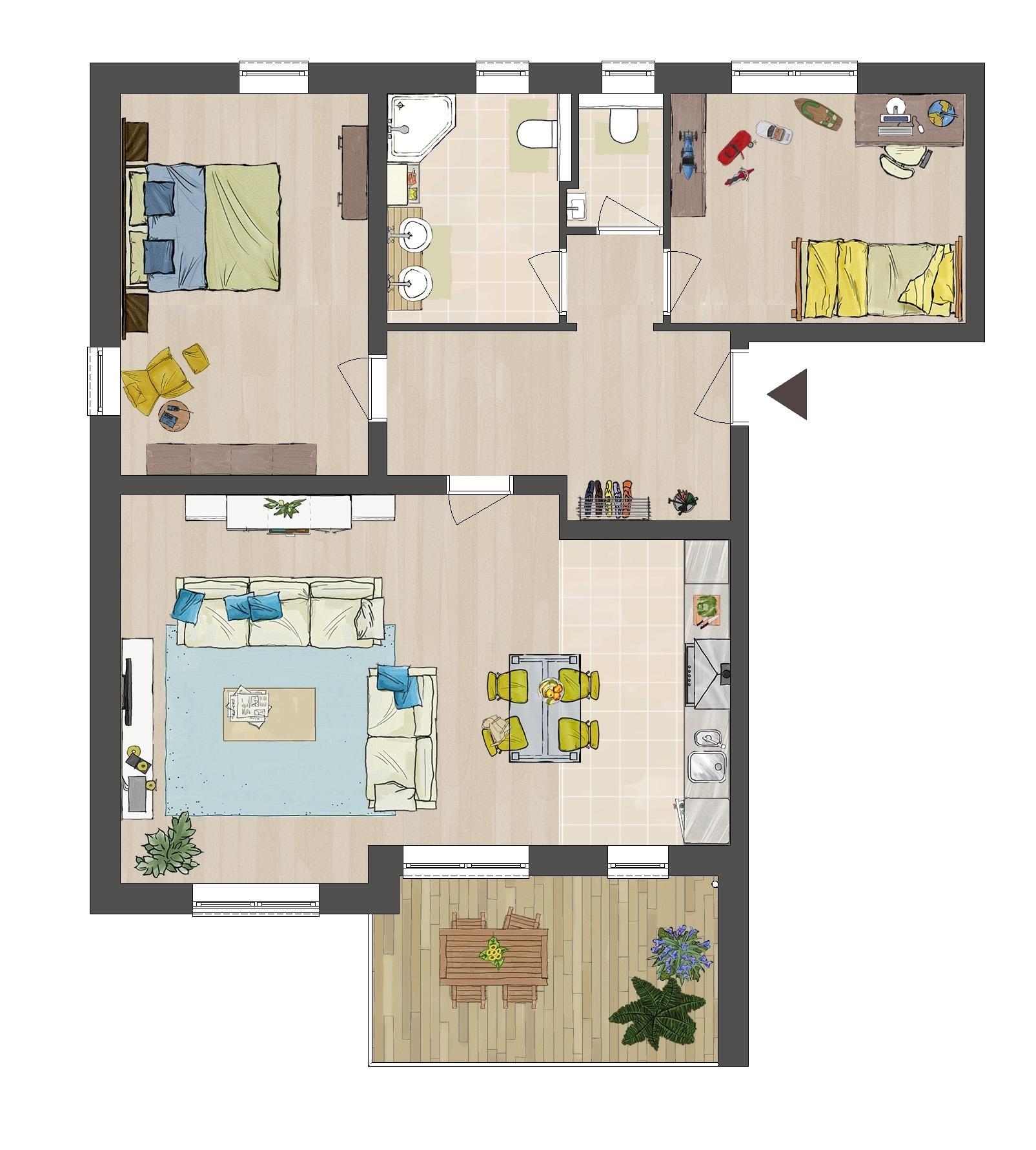 Grundriss Wohnung B5