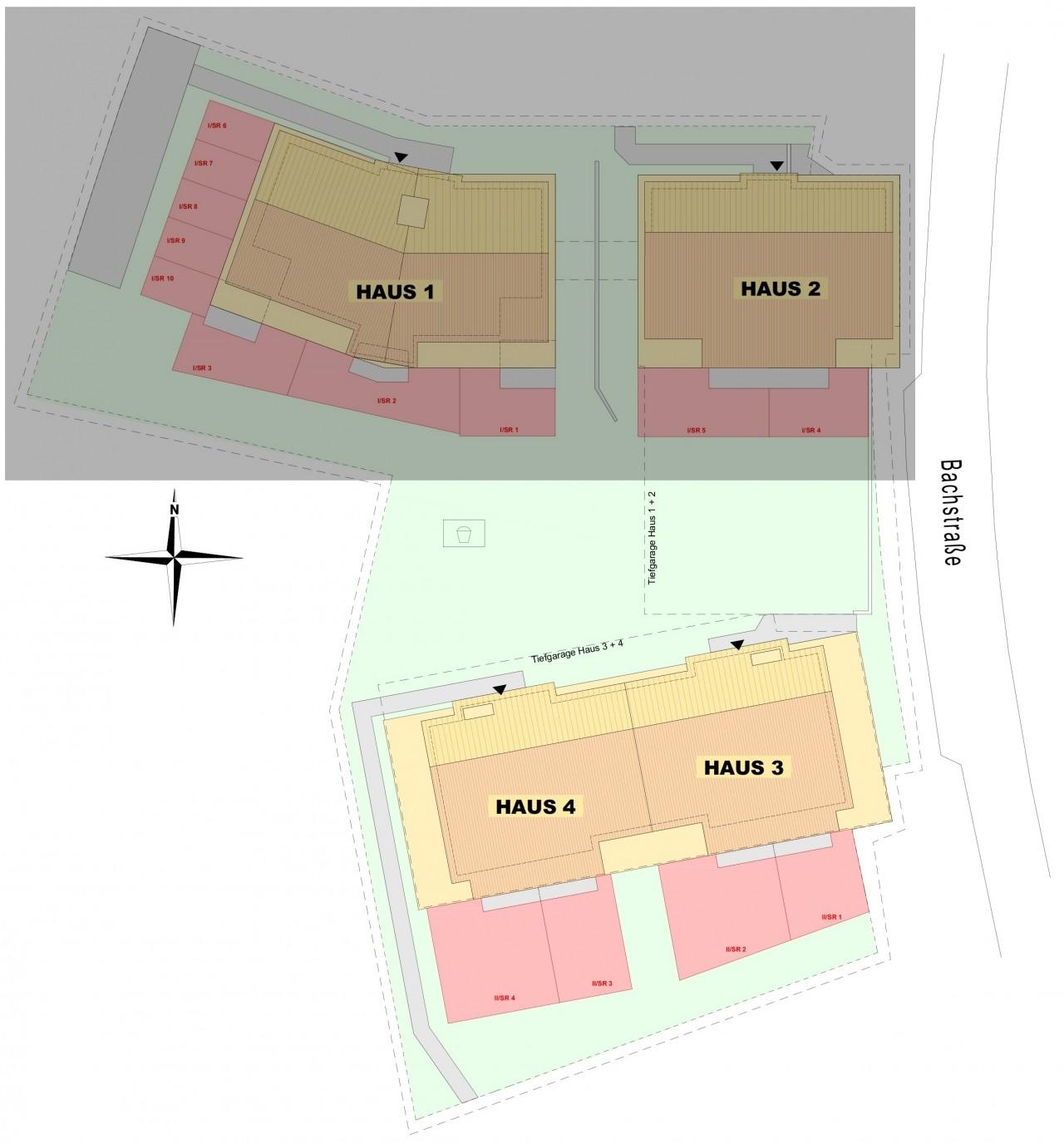Lageplan 2. Bauabschnitt, Häuser 3 + 4
