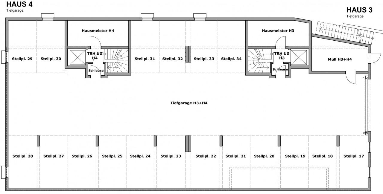 Tiefgaragengeschoss Häuser 3 + 4