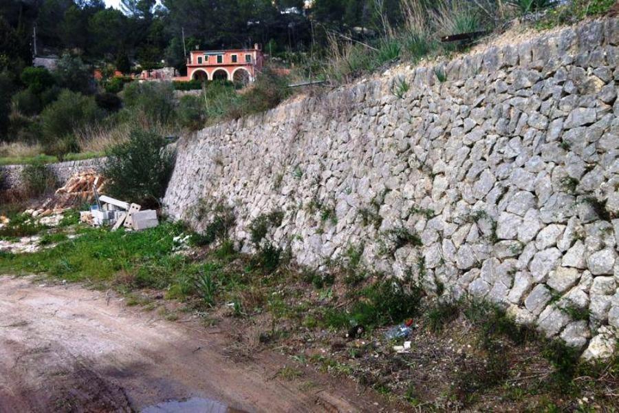 Steinmauer auf dem Grundstück