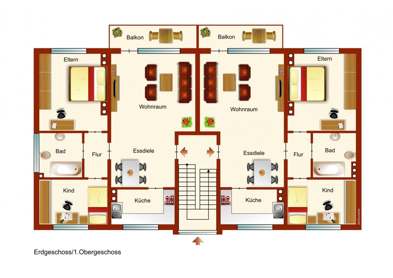 Erdgeschoss und 1.OG