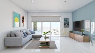 Wohnzimmer mit Gartensitzplatz