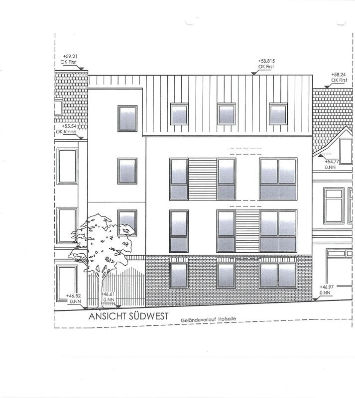 Entwurf Neubau Ansicht Südwest