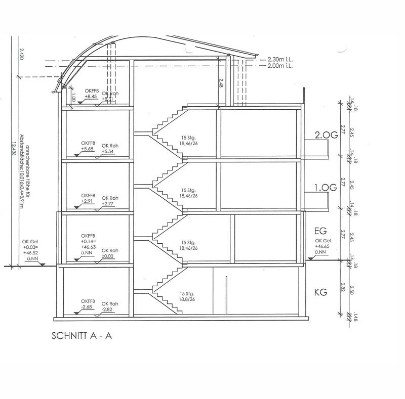 Entwurf Neubau Schnittzeichnung