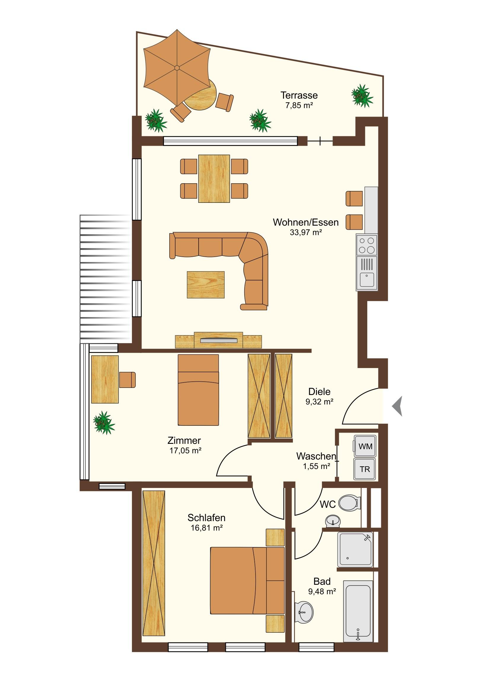 3-Zimmer Grundriss