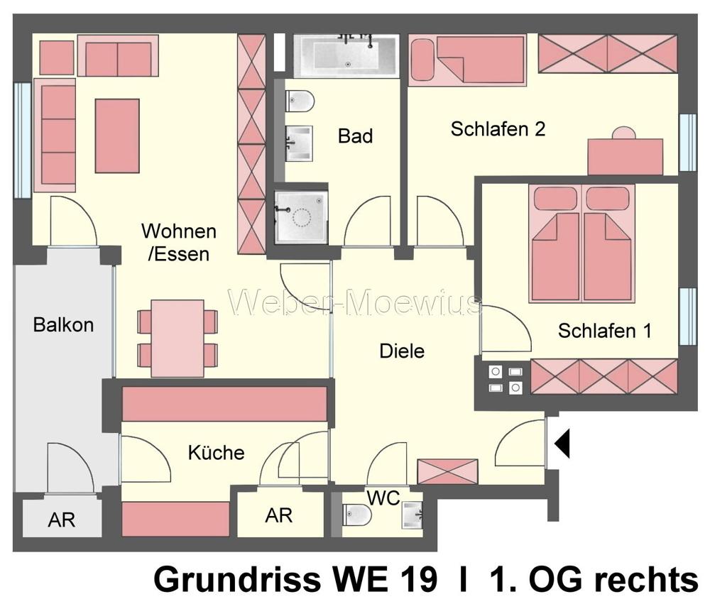 2752 - 2756 Grundriss WE 19 1. OG rechts