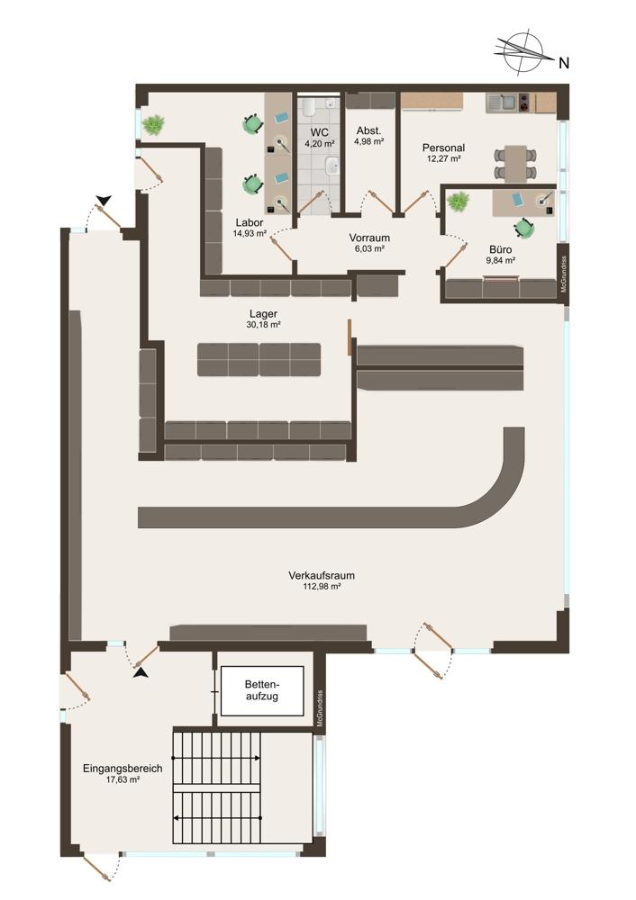 Grundriss Apotheke (EG) - 205 m²