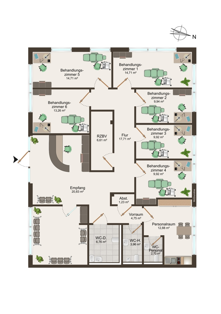 Grundriss Praxis 1 (EG) - 177 m²